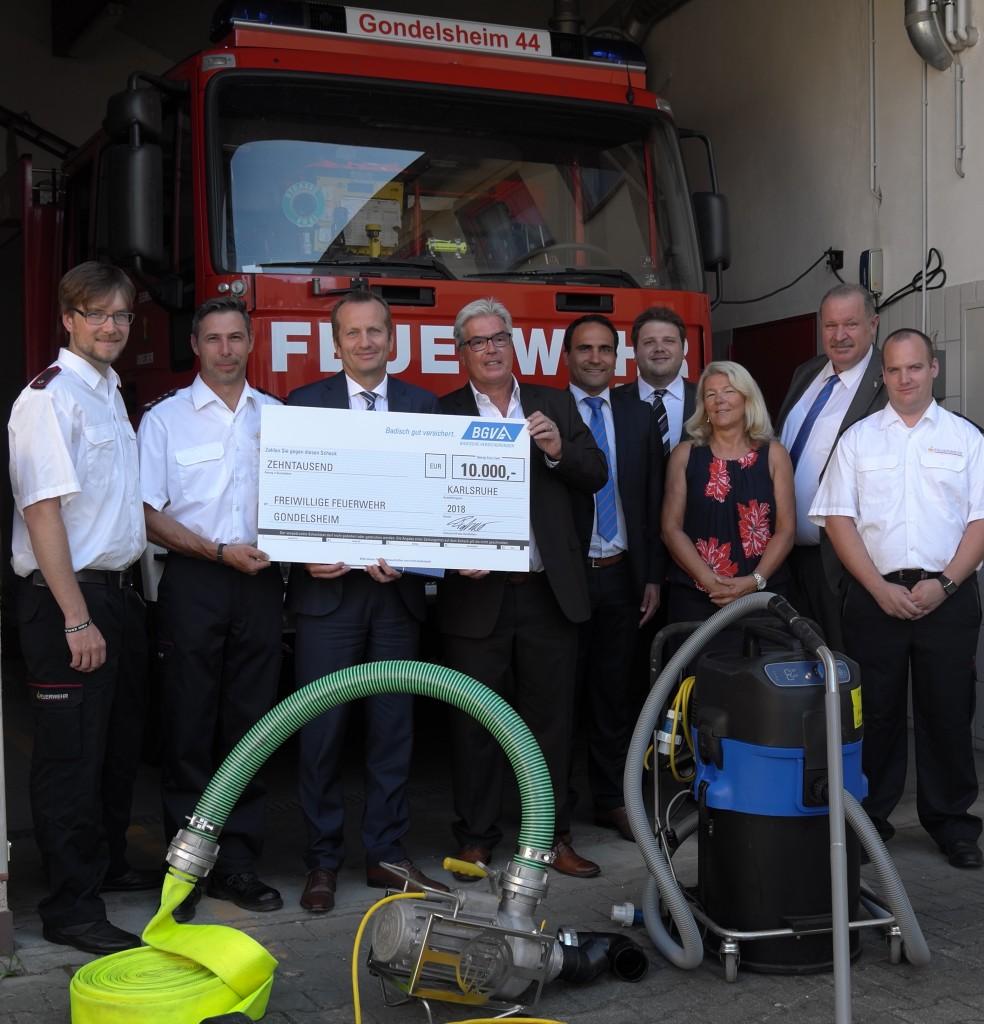 Spende BGV an Feuerwehr Gondelsheim